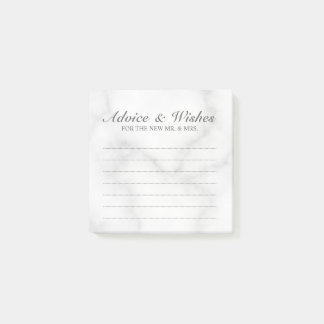 Classic White Marble Wedding Advice and Wishes Post-it Notes