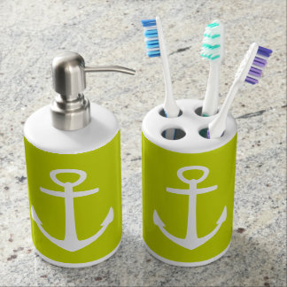 Classic White Nautical Anchors on Lime Green Bath Sets