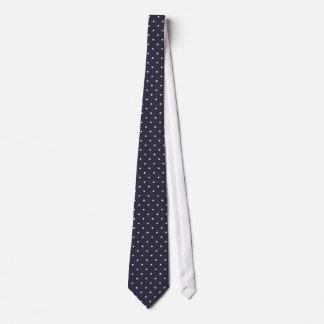 Classic white polka dots in dark blue background tie