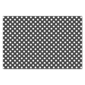Classic White Polka Dots with Dark Gray Background Tissue Paper