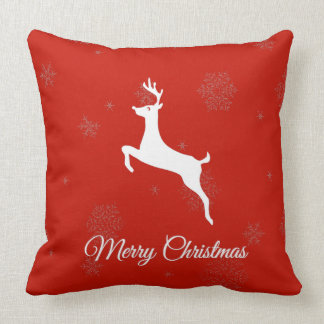 Classic White reindeer and Merry Christmas On Red Cushion