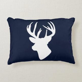 Classic White Reindeer Silhouette Custom Navy Blue Decorative Cushion