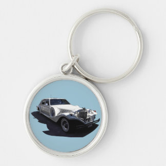 Classic White Tiffany Collectors Car Silver-Colored Round Key Ring