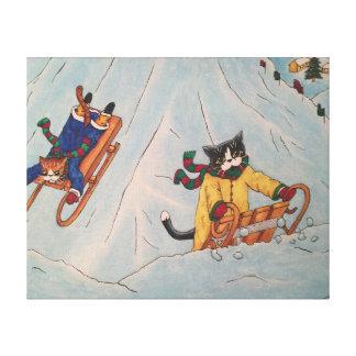 Classic Winter Sledging Canvas Print