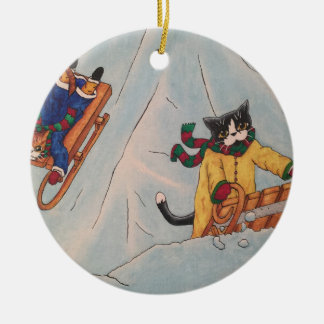 Classic Winter Sledging Ceramic Ornament