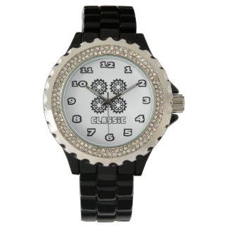Classic Women's Rhinestone Black Enamel Watch