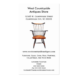 Classic Wood Windsor Chair Furniture Antique Store Pack Of Standard Business Cards