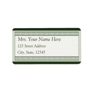 Classic Woodcut Green Address Lables Label