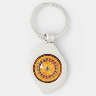 Classic Wooden Roulette Wheel Keychain