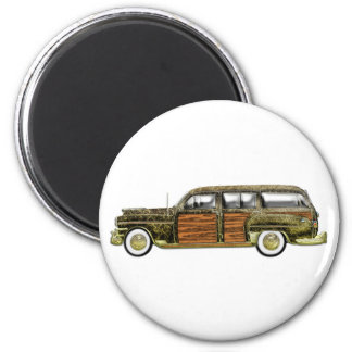 Classic Woody Station wagon 6 Cm Round Magnet