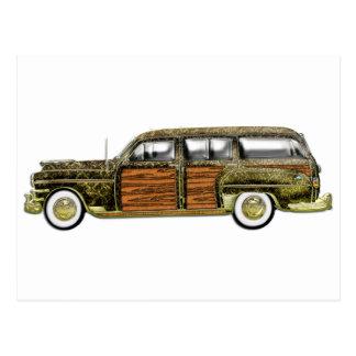 Classic Woody Station wagon Postcard