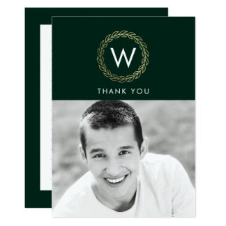 Classic Wreath EDITABLE COLOR Graduation Thank You Card