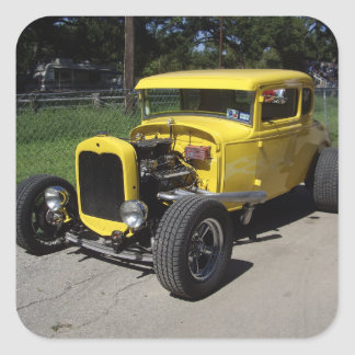 Classic Yellow Car Square Sticker