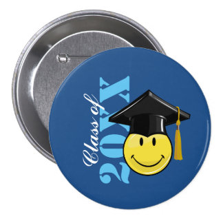 Classic Yellow Smiley With A Graduation Cap 7.5 Cm Round Badge