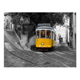 Classic yellow tram in Lisbon. Postcard
