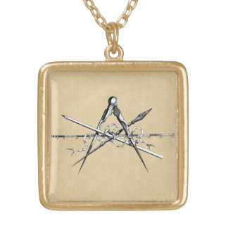 Classical Architecture Drafting Tools Gold Plated Necklace