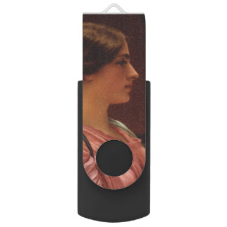 Classical Beauty by John William Godward Swivel USB 2.0 Flash Drive