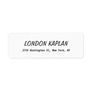 Classical Bold Elegant Plain Black & White Return Address Label