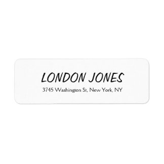 Classical Bold Elegant Plain Professional White Return Address Label