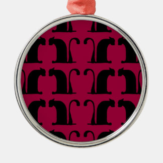 classical cats - red Silver-Colored round decoration