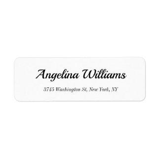 Classical Elegant Handwriting White Modern Plain Return Address Label