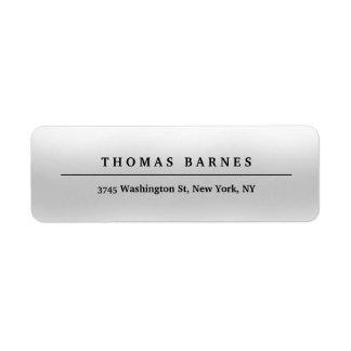 Classical Grey Minimalist Plain Elegant Return Address Label