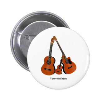 Classical Guitar Acoustic Bass and Ukulele 6 Cm Round Badge
