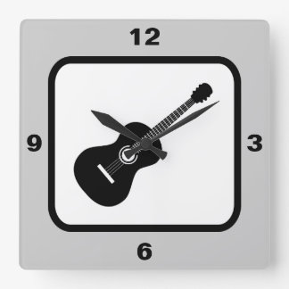 Classical Guitar Music Theme Square Wall Clock