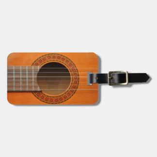 Classical guitar orange tan luggage tag