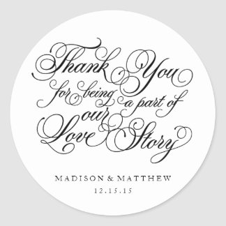 Classical Love Story | Wedding Favor Labels Round Sticker