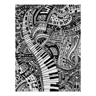 Classical music doodle with piano keyboard poster