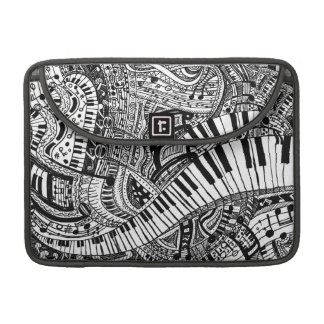 Classical music doodle with piano keyboard sleeve for MacBooks