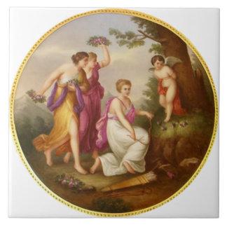 Classical Painting c1880 Vintage Tile Design