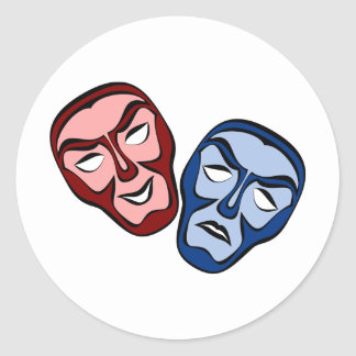 Classical Theater Face Masks Classic Round Sticker