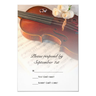 Classical Violin and White Roses Wedding RSVP Card