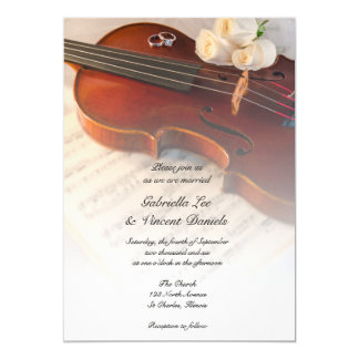 Classical Violin White Roses Wedding Invitation