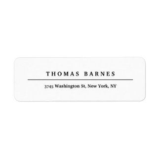 Classical White Minimalist Plain Elegant Return Address Label