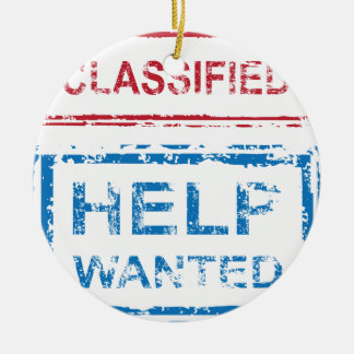 Classified Stamp Help Wanted Stamp Ceramic Ornament