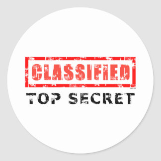 Classified Top Secret Classic Round Sticker