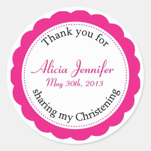 Classique Christening Round Sticker - Berry Pink