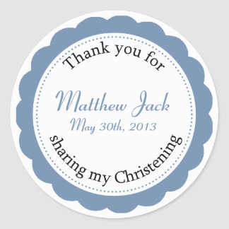 Classique Christening Round Sticker - Country Blue