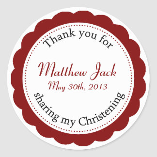 Classique Christening Round Sticker - Cranberry Re