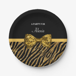 Classly Gold Zebra Print FAUX Glitz Bow With Name Paper Plate