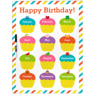 Classroom Birthday Chart Dry-Erase Whiteboards