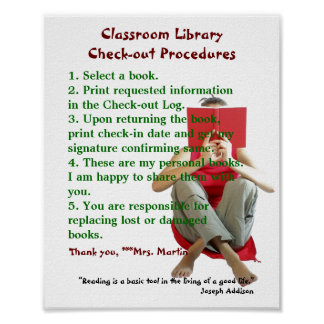 Classroom Library Rules/Checkout Procedures Poster