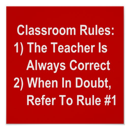 Classroom Rules (all white text on red) Print
