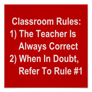 Classroom Rules all white text on red Print