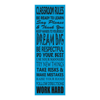 "Classroom Rules Poster (Blue), 12"" x 36"""