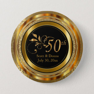 Classy 50th Golden Wedding Anniversary 7.5 Cm Round Badge