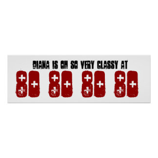 Classy 80th Birthday Party Banner Grunge Z60D Poster